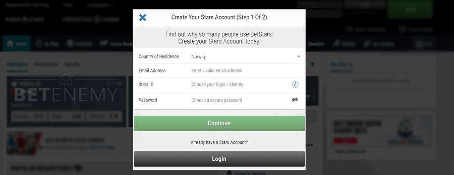 BetStars desktop registration